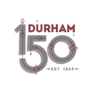 The Durham 150 logo recolored in gray and NCCU maroon