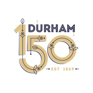 The Durham 150 logo recolored in gold and Duke blue